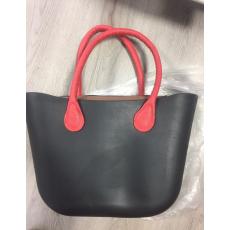 MyBag női szilikon táska fekete színű, piros  fül