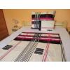 Krepp 3 részes ágynemű huzat 140x200 cm paplanhuzattal modern fekete - pink csíkos