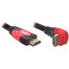 DELOCK HDMI Ethernet M/M video jelkábel 1m High Speed, 90° fekete