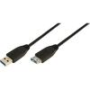 LogiLink USB 3.0 Hosszabbító kábel Type A>TypeA, fekete 3m