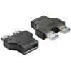 DELOCK USB 3.0 pinheader 19pin -> 2db USB 3.0 A F/M adapter fekete