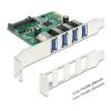 DELOCK PCI-E x1 - 4 portos USB3.0 IO vezérlő
