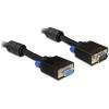 DELOCK VGA M/F video jelkábel 15m hosszabbító fekete