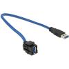 DELOCK USB 3.0 A M/F Keystone modul 0.5m 250° fekete