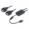 LogiLink USB A -> 2db Serial RS-232 M/M adapter fekete