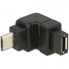 DELOCK Adapter USB 2.0 Micro-B male > USB 2.0 Micro-B female angled up