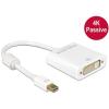 DELOCK Displayport mini 1.2 -> DVI-I M/F adapter 0.2m 4K passzív fehér