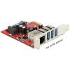 DELOCK PCI-E x1 - 3+1 portos USB3.0 multi IO vezérlő +Gigabit LAN