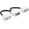 DELOCK DMS-59 -> 2db DVI-I M/F adapter 0.2m fekete