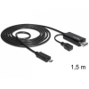 DELOCK MHL -> HDMI USB micro B M/M video jelkábel 1.5m fekete