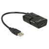 DELOCK USB A 5V DC -> USB A M/F izolátor 0.15m fekete