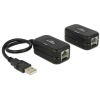 DELOCK USB A M/F extender 60m Cat.5e fekete