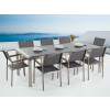 Beliani Kerti bútor szett - Polírozott szürke gránit asztallap 220 cm - 8 db. szürke textil szék - GROSSETO
