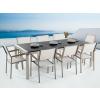 Beliani Kerti bútor szett - Polírozott fekete gránit asztallap 220 cm - 8 db. fehér textil szék - GROSSETO