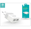 Univerzális USB hálózati töltő adapter 2 x USB - 5V/2,4A - Devia Rockwall 2 - white/silver mobiltelefon kellék
