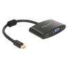 DELOCK mini Displayport-dugós 1.1 csatlakozó HDMI / VGA-csatlakozóhüvely fekete átalakító