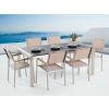 Beliani Kerti bútor szett - Polírozott fekete gránit asztallap 180 cm - 6 db. bézs textil szék – GROSSETO