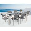 Beliani Kerti bútor szett - Polírozott szürke gránit asztallap 180 cm - 6 db. szürke textil szék – GROSSETO