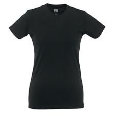 RUSSEL Női póló, hosszított, vékony fazonú, fekete női póló