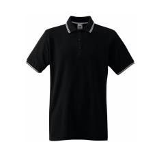 Fruit of the Loom Kontrasztcsikos férfi galléros piké póló, fekete-fehér