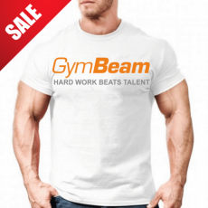 GymBeam Clothing Póló Hard Work White Orange - GymBeam