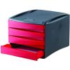 FELLOWES Irattároló műanyag 4 fiókos -piros- FELLOWES Green2Desk