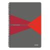 """Leitz Spirálfüzet, A4, kockás, 90 lap, PP borító, LEITZ """"Office"""", szürke-piros"""