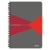 """Leitz Spirálfüzet, A5, vonalas, 90 lap, PP borító, LEITZ """"Office"""", szürke-piros"""
