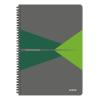 """Leitz Spirálfüzet, A4, kockás, 90 lap, laminált karton borító, LEITZ """"Office"""", szürke-zöld"""