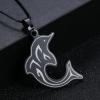 Fekete delfines medál+nyaklánc