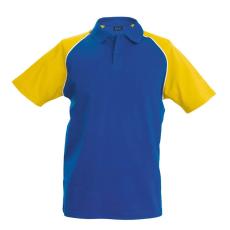 KARIBAN galléros póló, királykék/sárga
