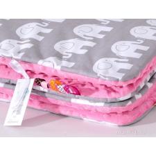 Prémium minky takaró - Rózsaszín szürke elefántos babaágynemű, babapléd
