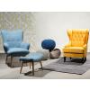 Beliani Kék fotel lábtartóval - VEJLE