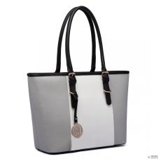 Gant E1661-Miss Lulu London Center csíkos Medium bevásárló táska állítható fogantyú táska szürke