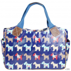 L1105DG - Miss Lulu London Oilcloth bevásárló táska táska Scottie Dog Navy