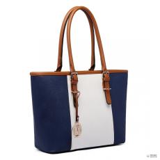 Gant E1661-Miss Lulu London Center csíkos Medium bevásárló táska állítható fogantyú táska Navy