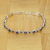 BAMOER Jewelry Fehér arannyal bevont karkötő kék kövekkel