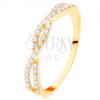 Gyűrű 14K sárga aranyból - összefonódott cirkóniás vonal, apró átlátszó cirkóniák