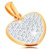 Medál 14K sárga aranyból - csillogó szív Swarovsi kristályokkal díszítve