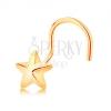 585 arany ívelt orrpiercing - ötágú csillag fényes felszínnel