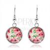 Kaboson fülbevaló, kör kidomborodó fénymázzal, rózsaszín virágok, levelek, fehér alap