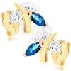 375 arany fülbevaló - csillogó gally levelekkel, kék zafír, átlátszó cirkónia