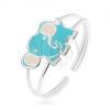 925 ezüst gyűrű, kicsi, aranyos elefánt, kék és fehér fénymázzal fedve