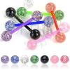 Nyelvpiercing - színes glitter golyócskák
