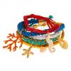 Multikarkötő, színes zsinórok és karika, medálok - korall, tengeri kagylók, csikóhal