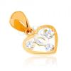 Kétszínű medál 9K aranyból - szív körvonal, hurok fehér aranyból, cirkóniák