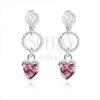Beszúrós fülbevaló 925, díszített karika, rózsaszín cirkóniás szív