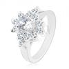 Ezüst színű gyűrű, átlátszó ovális cirkónia átlátszó szegély
