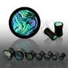 Fekete plug természetes anyagból, Paua kagyló karika