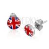 Beszúrós fülbevaló 316L acélból, átlátszó fénymázas fejecske, britt zászló